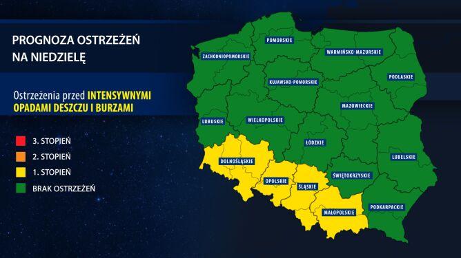 Prognoza zagrożeń na niedzielę (tvnmeteo.pl za IMGW)