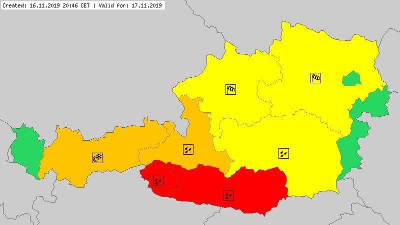 Ostrzeżenia meteorologiczne na niedzielę dla Austrii (meteoalarm.eu)
