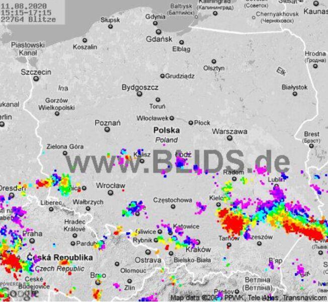 Ścieżka burz nad Polską (godz. 15.15-17.15) (blids.de)