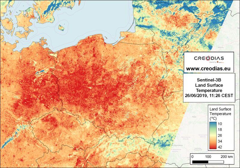 Zdjęcia satelitarne temperatury powierzchni gruntu 26 czerwca 2019 roku (CREODIAS/CloudFerro)